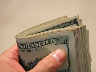 A bundle of 100 dollar bills.