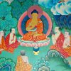 A painting of Shakyamuni Buddha teaching to monastics.