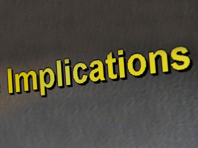 "The word ""Implications"" written in yellow against a gray background."