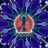 Image of Medicine Buddha with rays of blue light.