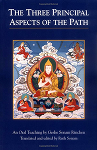 "Cover of Geshen Sonam Rinchen's book ""The Three Principal Aspects of the Path""."