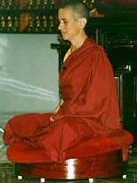 Venerable Chodron meditating.