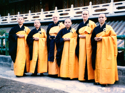 Venerable Thubten Chodron ordination with other Bhikshunis.