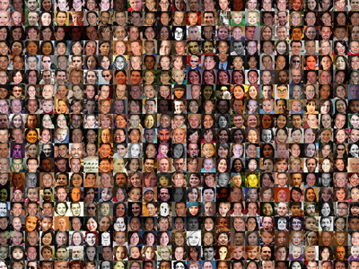 Hundreds of photos of people's faces.