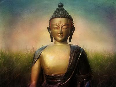 Statue of a bronze Buddha.