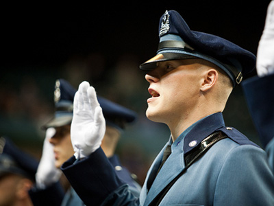 A student at a state police graduation.