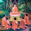 Painting of the Buddha's first sermon and five disciples.