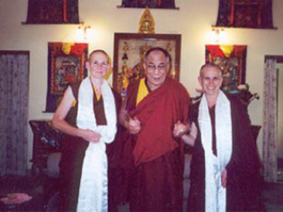 Venerable Chodron with His Holiness the Dalai Lama.