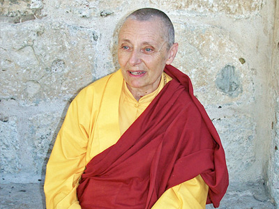 Tenzin Palmo at the Church of the Holy Sepulchre, Jerusalem, September 2006.