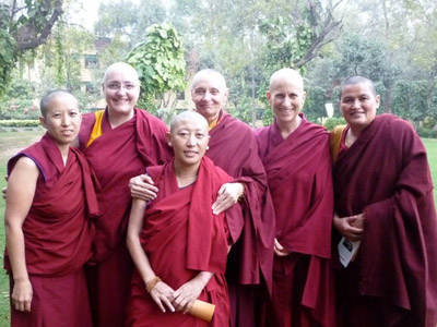 Vens. Jampa Tsedroen, Tenzin Palmo, and Thubten Chodron meet with some Tibetan nuns
