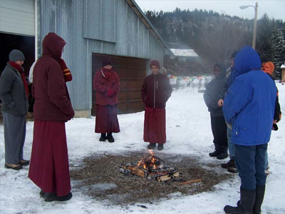 Fire puja at the end of Medicine Buddha retreat.
