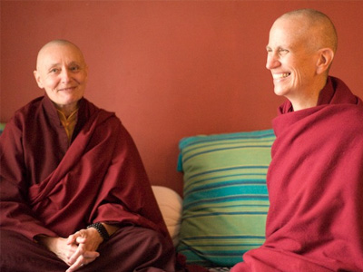 Venerable Chodron and Tenzin Palmo together in Dharamsala.