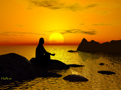 A man meditating on a rock, surrounded by the sea, sunset in the background.