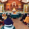 Geshe Sopa teaching in the Meditation Hall.