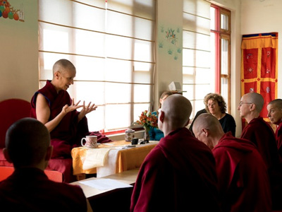 Venerable teaching at Thösamling Institute in India.