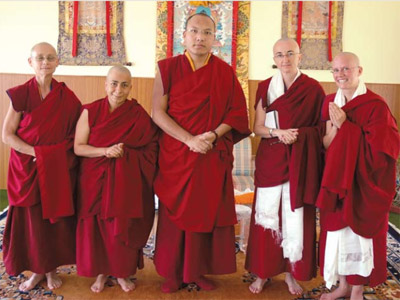 The Seventeenth GyalwangKarmapa  in northern India with members of the Dharmadatta Nuns' Community.