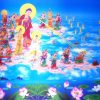 Amitabha Buddha and alot of bodhisattva coming to fetch an old man to pureland.