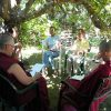 EML participants and Abbey sangha in discussion.