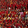 Photo of alot of tibetan monks, nuns and their families.