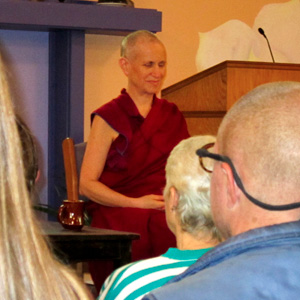 Venerable Chodron teaching at Gardenia Center.