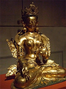 Bronze statue of White Tara.