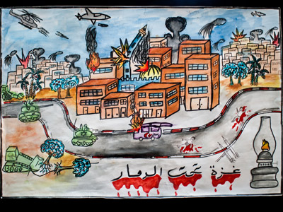 Drawing of Gaza bombing- planes  dropping bomb, buildings bomb and people dying in blood on the road.