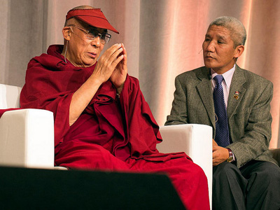 His Holiness and Thupten Jinpa during a talk.