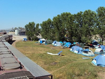 A line of tents at Hopeville.