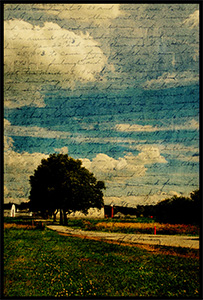 Transparent image of letter over photo of house in the country.