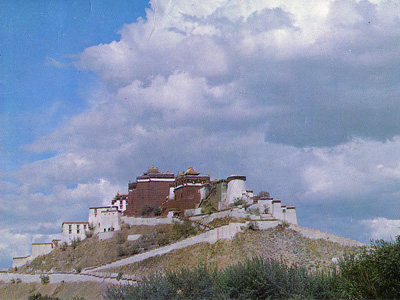 Blue sky and clouds above Potala Palace.