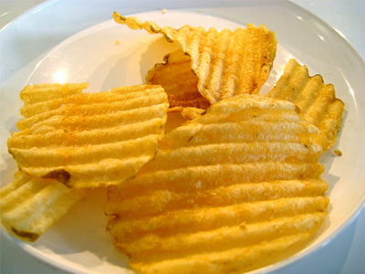 Potato chips on a plate.