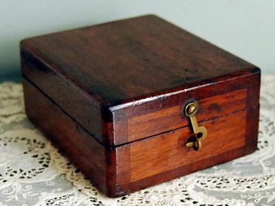 A wooden keepsake box.