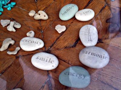 Cute little rocks with words: serenity, smile, energy, harmonie, generosity, humour.