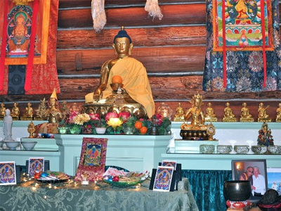 The Abbey altar, prepared for Medicine Buddha puja.