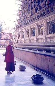 Venerable Chodron at Maha Bodhi Temple in Bodhgaya.