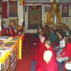 Sangha and lay practitioners listening carefully as Venerable Chodron teaches.