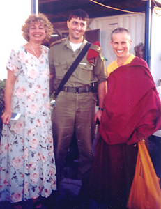 Venerable Chodron with two others at the Gaza Strip.