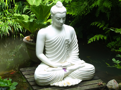 statue near a lotus pond of a buddha in meditation