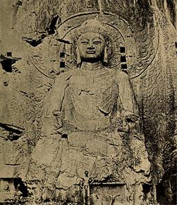 Buddha carved into stone.