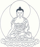 Ratnasambhava Buddha, left hand is in meditative equipoise, and his right hand is in the gesture of giving