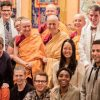 Group photo of retreatants from the Shantideva Meditation Center talk standing with Abbey nuns..