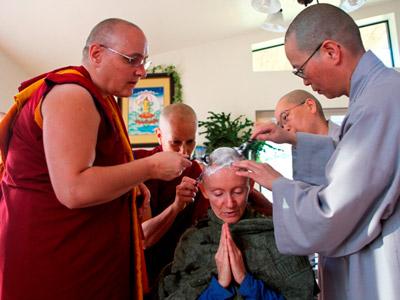 The bhikshuni elders shaving Venerable Samten head.