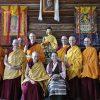 Abbey monastics with H.E. Dagmo-la in the meditaiton hall.