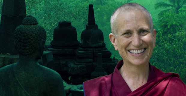 Venerable Chodron and background of Borobudur.