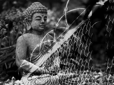 Buddha statue behind prison wire.