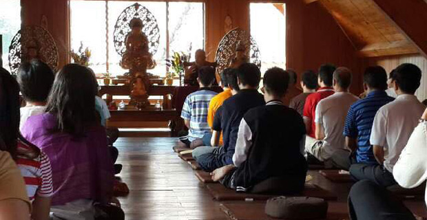 Venerable Chodron teaching in Jakarta, 2015.