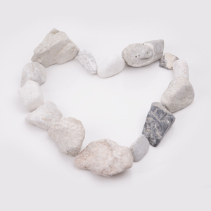 Heart made of rocks.