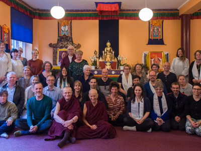 Retreatants with Venerable Chodron at the Phendeling Centre teaching.