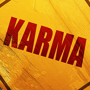 Graphic yellow and red image of the word karma.