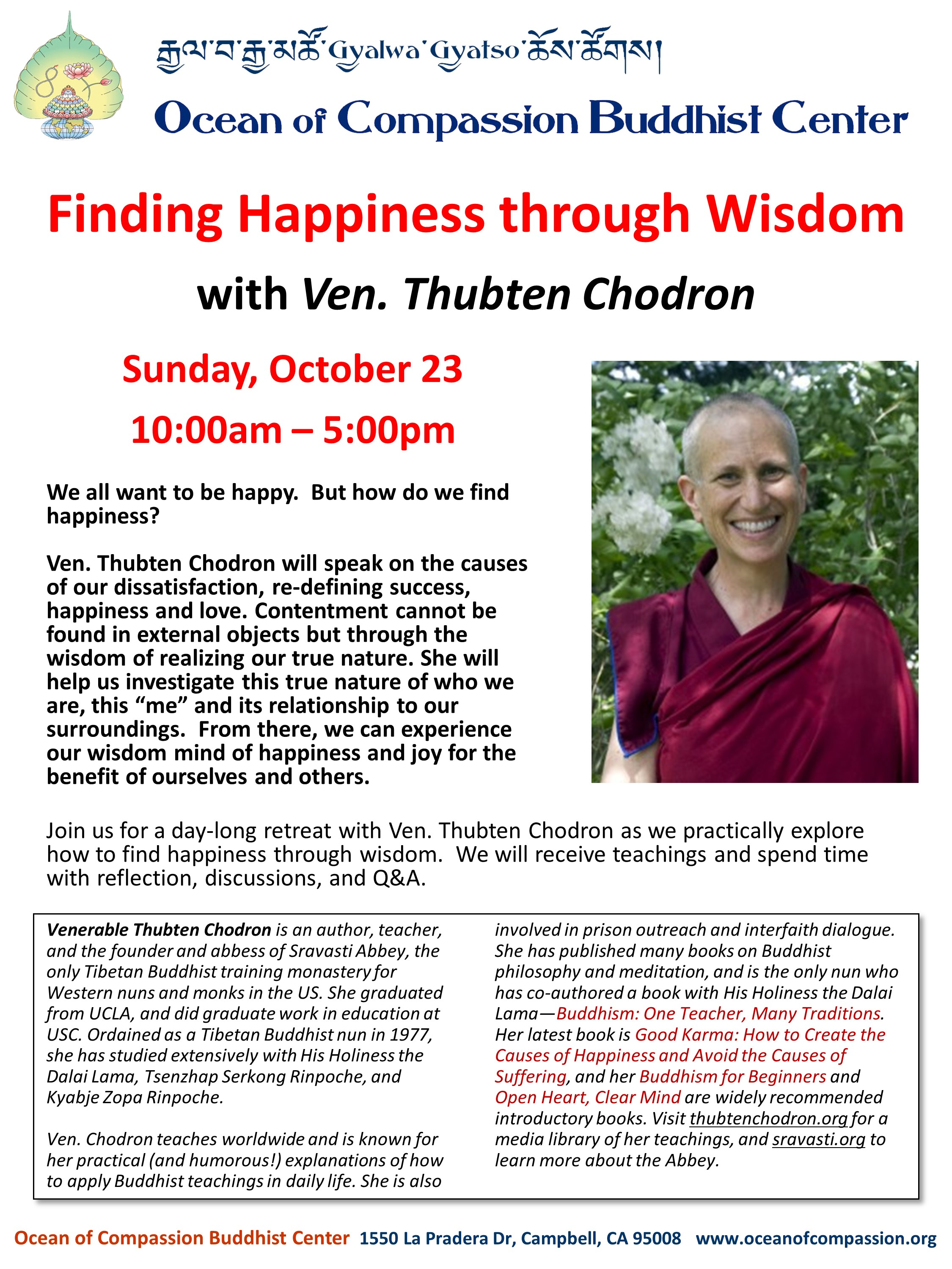 "Campbell, CA: Retreat on ""Finding Happiness Through Wisdom"""